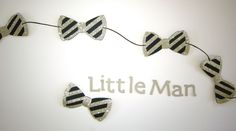 Little Man Bow Tie Garland {COLOURS CUSTOMIZABLE} - Baby Shower, Anniversary, Birthday Party, Paper Garland, Party Decor by CutPartySupplies on Etsy Little Man, Twine, Party Supplies, Paper Garlands, Anniversary, Birthday Parties, Stud Earrings, Baby Shower, Bows