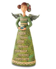 From the Kelly Rae Roberts Collection, Celebrate Figure, Angel Demdaco - $30