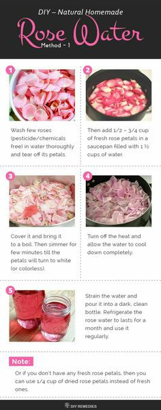 The best DIY projects & DIY ideas and tutorials: sewing, paper craft, DIY. Natural & DIY Skin Care : Homemade Natural Rose Water Here we are going to know about 2 best methods of preparing rose water at home. Homemade Rose Water, Homemade Beauty, Recipe For Rose Water, Homemade Toner, Beauty Care, Beauty Skin, Health And Beauty, Natural Rose Water, Rose Water Hair