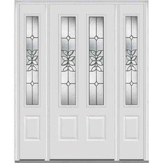 Milliken Millwork 36 in. x 80 in. with 14 in. Sidelites Cadence Decorative Glass 2 Lite Painted Fiberglass Smooth Prehung Front Door, Brilliant White