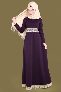 Gold Detaylı Tesettür Elbise Mor Ürün Kodu: PRM3010 --> 59.90 TL