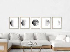 Moon art Print Phases Lunar Poster Black White Set of 5 Luna Night Sky Minimalist art Scandinavian art Constellations Monochrome Wall art Country Style Living Room, Art Blue, Black And White Wall Art, Black White, Ikea, First Apartment, Apartment Living, White Nursery, White Decor