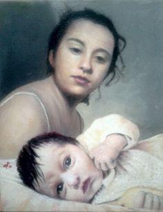 Elena e Canilla olio su tela