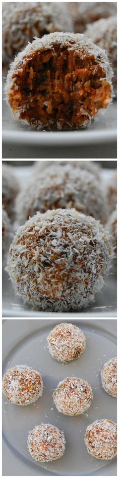Carrot Cake Balls - These healthy energy bites taste just like carrot cake but in a small bite sized portion! These are gluten-free, refined sugar free, raw and vegan Healthy Desserts, Raw Food Recipes, Just Desserts, Delicious Desserts, Dessert Recipes, Cooking Recipes, Sans Gluten, Gluten Free, Good Food