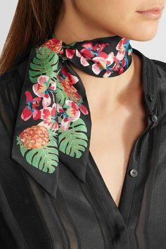 Valentino   Printed silk-twill scarf   NET-A-PORTER.COM