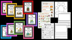 Word Cards - Words for Each Month from IncredibleKKids on TeachersNotebook.com -  - Run these off and laminate.  Put them on a ring each month or in student's writing folder.  Students will use these as a reference and inspiration for writing.  Great sister product for my Star Writer's Packet.  No writing center should be without either!