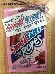 :: Here's to a Sweet Start this School Year! :: SweeTARTS Candy :: First Day of School Teacher Gifts and Student Treats :: Back to School Gift Ideas. Student Treats, Teacher Treats, School Treats, Teacher Appreciation Gifts, Student Gifts, Teacher Gifts, Student Welcome Gifts, Volunteer Appreciation, Back To School Gifts For Kids