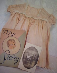 vintage baby dress, book, and photo Vintage Baby Dresses, Vintage Kids Clothes, Vintage Children, Vintage Pink, Vintage Outfits, Vintage Fashion, Shabby Vintage, Shabby Chic, Rock N Roll Baby