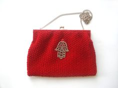 Red Hand Knitted Wool Purse With The Hand of Fatima by nilknitting