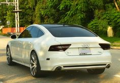 White Audi A7 with Custom Rims Find the Classic Rims of Your Dreams - www.allcarwheels.com