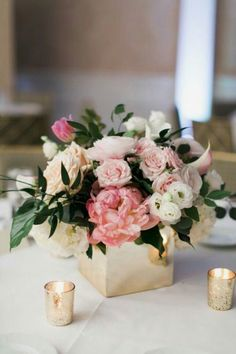 Blush Pink and White Low and Lush Wedding Centerpiece in Gold Square Vase // mecrury glass, peonies, roses, ranunculus, greenery #ranunculuscenterpiece