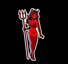 Devil Pinup Girl Woman Laptop or Automotive Sticker Decal Waterproof Pin Up Pin Up Girl Tattoo, Pin Up Tattoos, Cartoon Girl Drawing, Girl Cartoon, Joker Card Tattoo, Rockabilly Art, Pin Up Drawings, Satanic Art, Tattoos
