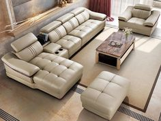 Click visit to buy Furniture Sofa Set, Corner Furniture, Living Furniture, Leather Sectional Sofas, Leather Sofa, Wardrobe With Dressing Table, Corner Sofa Set, Room Corner, Living Room Sofa Design