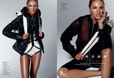 Urban Sports – Candice Swanepoel is smoldering hot in the February edition of Vogue China donning sportswear inspired looks styled by Alastair McKimm. In front of Daniel Jackson's lens, Candice glistens in the designs of Stella McCartney, Alexander Wang, Balenciaga, Narciso Rodriguez and others in the studio images. / Hair by Yannick D'is, Makeup by Yadim