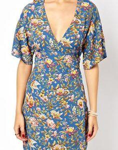 Image 3 ofASOS Midi Dress With Kimono Sleeve In Oriental Bird Print