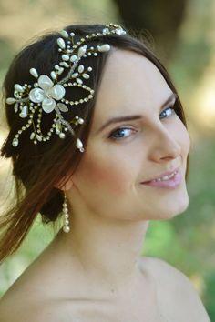 Lotus flower Flower headpiece  Gold ivory bridal jewelry Wedding Pearl cream accessory  Bridal Hair vine  Pearl flower crown