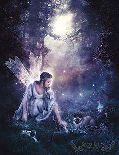 Luna Light of Fae, Moon Starlight Night Fairy Illustration, 8 x10 Art Print on Etsy, $20.00