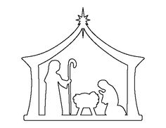 Nativity pattern. Use the printable outline for crafts, creating stencils, scrapbooking, and more. Free PDF template to download and print at http://patternuniverse.com/download/nativity-pattern/