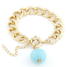 Occident fashion Multi-color beads gold color metal feeling chain bracelet ( blue )