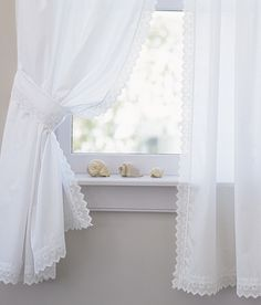Pointed Lace Edging Perma-Press Rod Pocket Curtains by Country Curtains White Lace Curtains, Country Curtains, Sheer Curtains, Baños Shabby Chic, Shabby Chic Kitchen, Rod Pocket Curtains, Hanging Curtains, Window Curtains, Beach Cottage Style