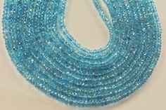 half strand 8 inches natural swiss blue topaz rondelle aaa by vlvp, $49.99