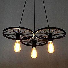 BAYCHEER Retro Industry Design Pendelleuchte Im Loft Style Esszimmer Vintage Hngeleuchte LampeWohnzimmer Rad X 56 Cm
