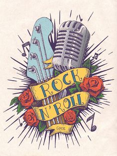 Rock n Roll - Tattoo em Pontilhismo on Behance Rock Tattoo, Rock And Roll Tattoo, Tatouage Rock And Roll, Rockabilly Tattoos, Rockabilly Mode, Rockabilly Fashion, Rockabilly Tattoo Designs, Rockabilly Artwork, Rockabilly Party