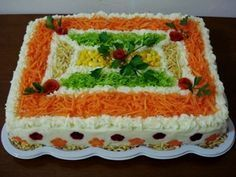 Take a look at this recipe that I found on myTaste Sandwich Cake, Sandwiches, Birthday Cake Alternatives, Salad Design, Salad Cake, Cake Shapes, Food Garnishes, Milanesa, Vegetable Salad