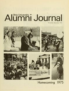 """The Ohio University Alumni Journal, November-December 1975. """"Homecoming 1975."""" In this year's Homecoming parade, among other things, were the OU Band, the Bobcat, the prized Alpha Delta Pi float, Hall of Fame members and honorary alumni. :: Ohio University Archives"""