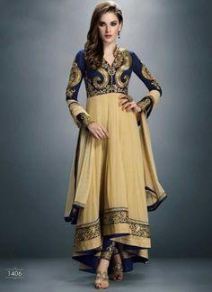Angelic cream and navy blue embroidery work anarkali suit http://www.angelnx.com/Salwar-Kameez/Anarkali-Suits