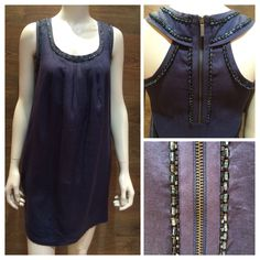 Max Mara SS 2014 Collection: Weekend collection 100% linen navy sleeveless summer dress with beaded detail.  Price on request.