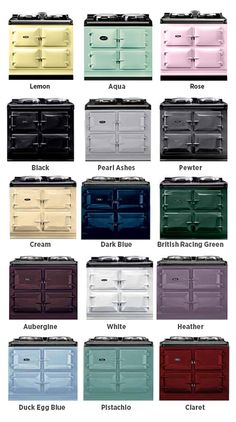 AGA Cast Iron Ranges the different range of colours you can choose from.