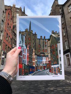 Destination Edinburgh - The Red Door Gallery Gallery Art Prints, Beautiful Studies, Art Gallery, Art Lessons, Illustration Sketches, Sunset Sky, New Artists, Scott Monument, Colorful Prints