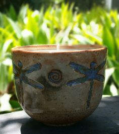 Stoneware Ceramic Cup Natural Soy Wax Candle by BigBearPottery, $38.00