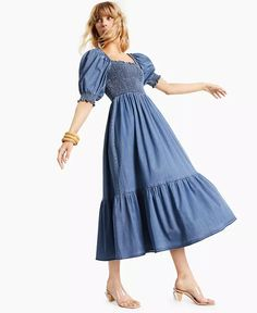 INC International Concepts - Puff-Sleeve Denim Maxi Dress Denim Maxi Dress, Midi Skirt, Maxi Dresses, Review Dresses, Fashion Branding, Ankle Length, Clothes For Women, Casual, Latina