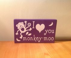 Chunky freestanding wooden plaque/sign I love by JJAdorableCrafts, £10.00