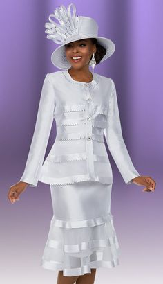 Ben Marc 48146 ( Silky Twill Fabric Ladies Suit Ensemble In A Box Wlth Multi Tier Flounce Skirt ) Colors White Sizes 12 14 16 18 20 22 24 You Save Church Suits And Hats, Church Attire, Women Church Suits, Church Hats, Suits For Women, Church Clothes, Church Dresses, Church Outfits, Long Dresses