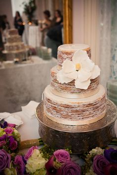Bri ~ here's the perfect wedding cake for you!!!! Lace Doberge Magnolia Naked Wedding Cake