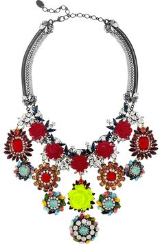 Erickson Beamon | I Never Promised You A Rose Garden gold-plated Swarovski crystal #statement necklace | NET-A-PORTER.COM