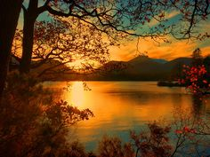 Sunset River Lake Trees Falling Fall Mountain Leaves Orange Branches Reflection Shore Beautiful View Autumn Sundown Nice Lovely Nature Pictures With Quotes Autumn Lake, Autumn Forest, Autumn Trees, Sunrise Pictures, Sunset Photos, Nature Pictures, Mystery, Solar Installation, Sunset Wallpaper