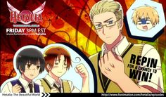 REPIN TO WIN! Repin this image for a chance to win an awesome Hetalia prize pack. You must repin this image from our board to enter. Click image for full contest details.