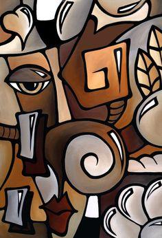 Abstract art portrait painting original Modern wall by fidostudio