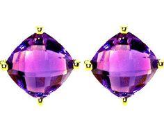 ø Gold Amethyst Earrings Amethyst Jewelry, Amethyst Earrings, Gold Earrings, Gold Jewelry, Vintage Jewelry, Jewellery, Birthstone List, Estilo Fashion, Jewelry Design