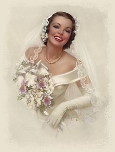 vintage- I love the off the shoulder, thick fabric...and gloves...and lace veil...I love it all!