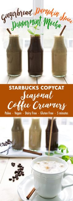 Seasonal Starbucks drinks made healthy! These easy to make paleo and vegan coffee creamers give you those wonderful holiday flavors with none of the questionable ingredients!
