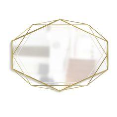 Umbra Prisma Modern Geometric Shaped Oval Mirror Wall Decor for Bedroom, Bathroom, living, Dining Room, Matte Brass Mirror Tray, Oval Mirror, Wall Mounted Mirror, Wall Mirrors, Mirror Shop, Structure Metal, Brass, Wall Decor, Wall Art