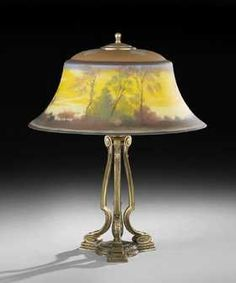 1180: Pairpoint Reverse-Painted Scenic Table Lamp