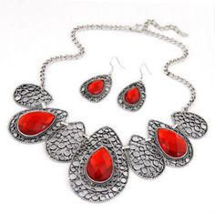 Quicksilve Red Hollow Out Water Drop Pattern Design Alloy Jewelry Sets = N943
