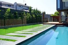 channel fixed glass pool fence - Google Search Glass Pool Fencing, Pool Fence, Under Decks, Simple Lines, Glass Panels, Melbourne, Swimming Pools, Landscape, Outdoor Decor