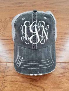 6c2616c45ea Monogram Trucker Hats. Monogram Distressed Trucker Hat. Trucker hats.  Distressed hats. Monograms. Mo